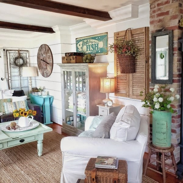 cottage living room with home decor