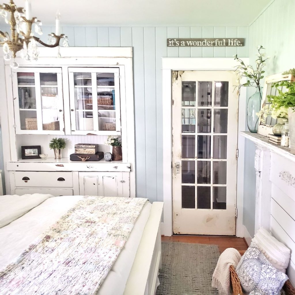 bedroom with French door and built in