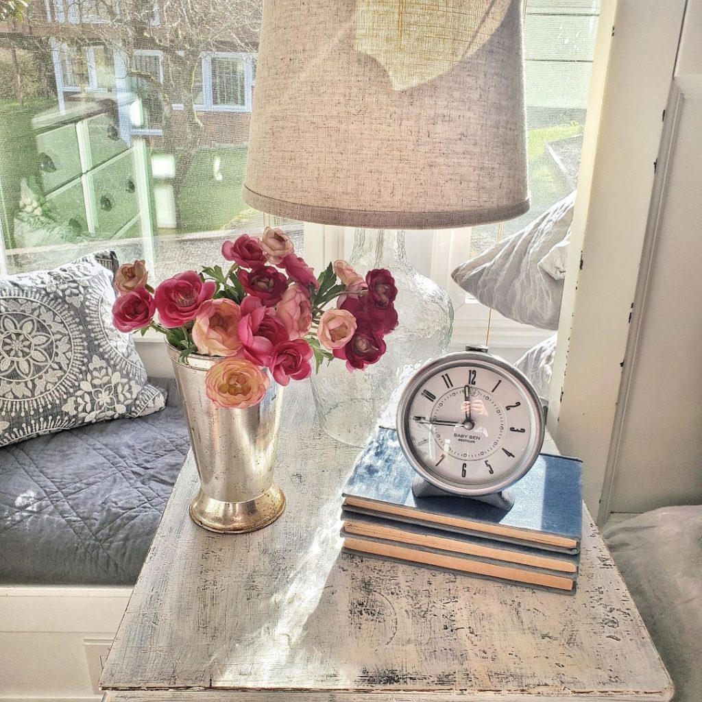 Spring flowers on nightstand