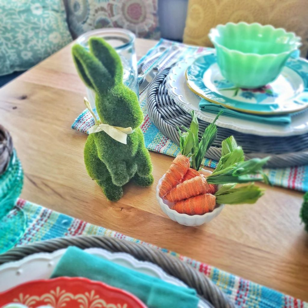 This moss bunny and carrots from Michael's really liven up my Easter tablescape.