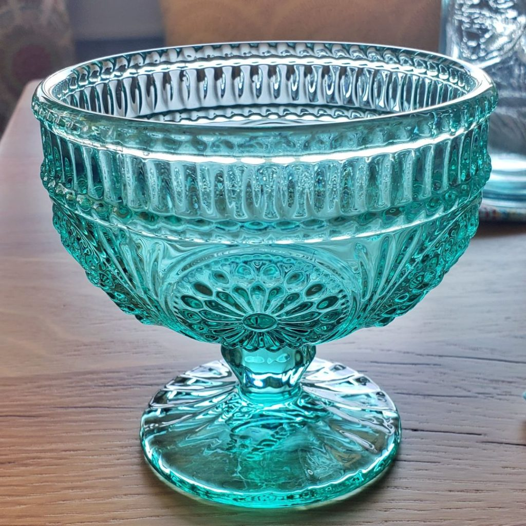 This blue sundae glass dish is from Pioneer Woman.