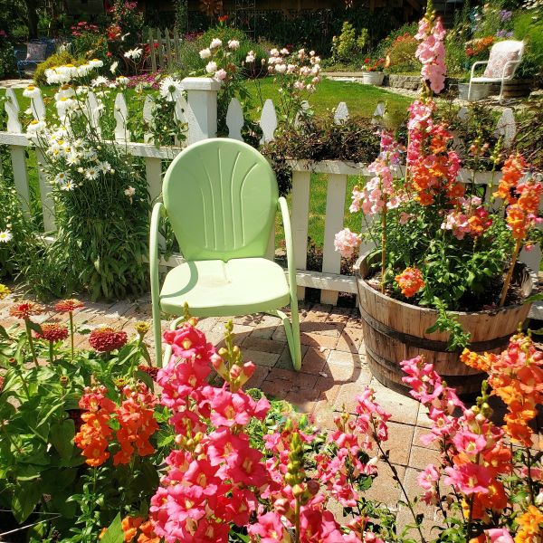 Cottage garden with brick pavers and snapdragons