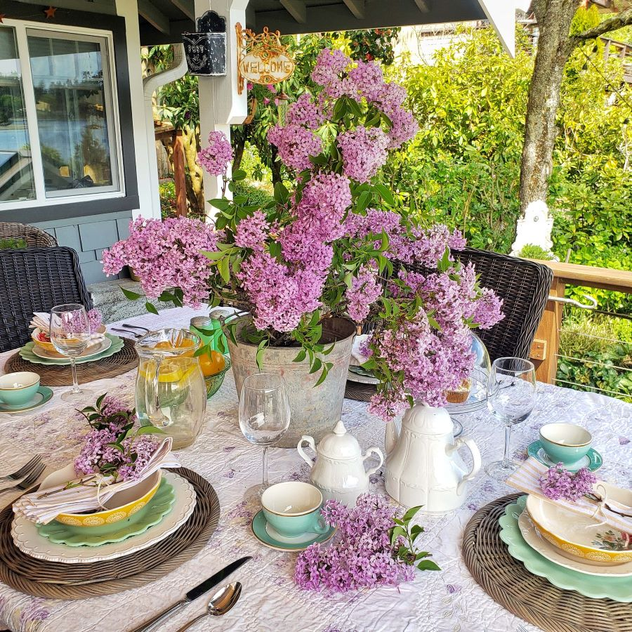 A spring tablescape with lilacs