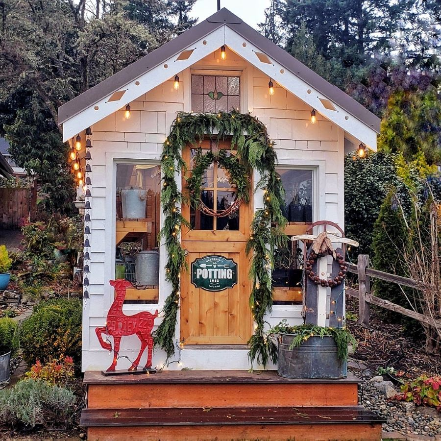 Cottage garden greenhouse during the holidays.