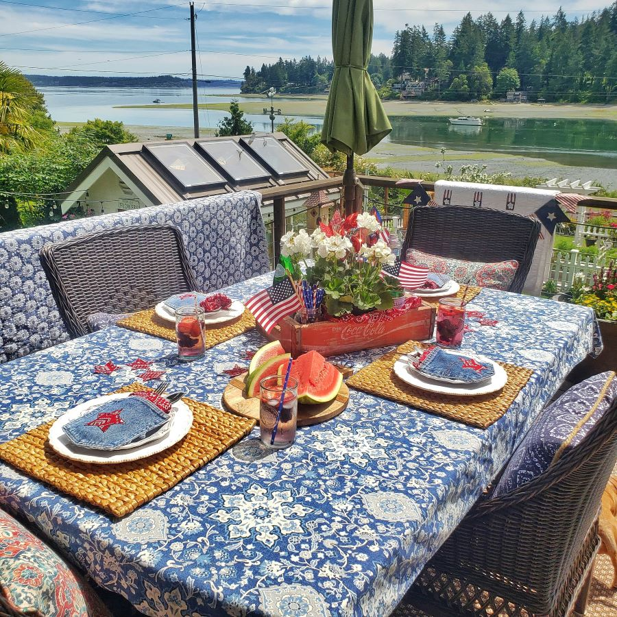 a outdoor dining table with patriotic decor