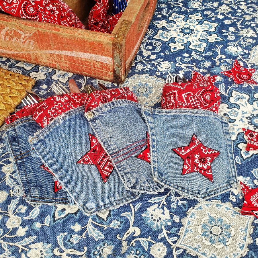 denim pockets with red bandana stars