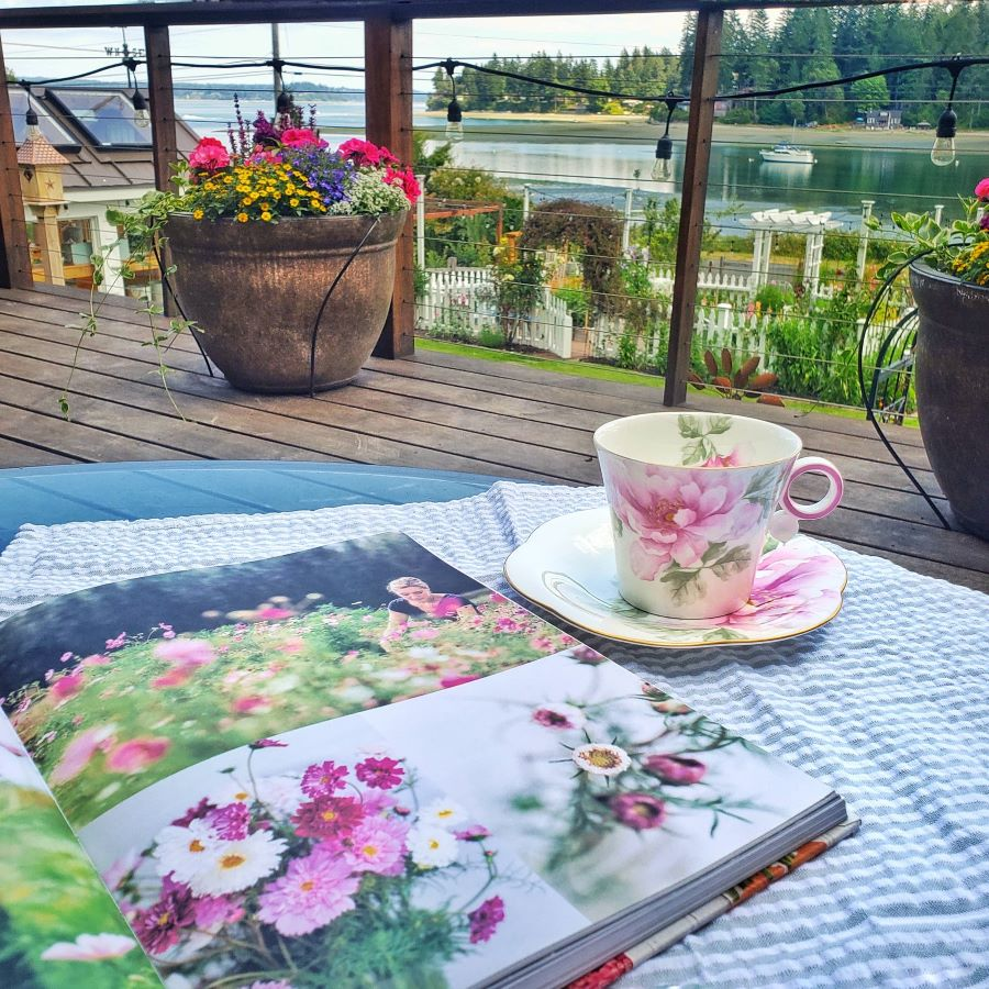 A rose teacup on a table on the deck with a gardening book