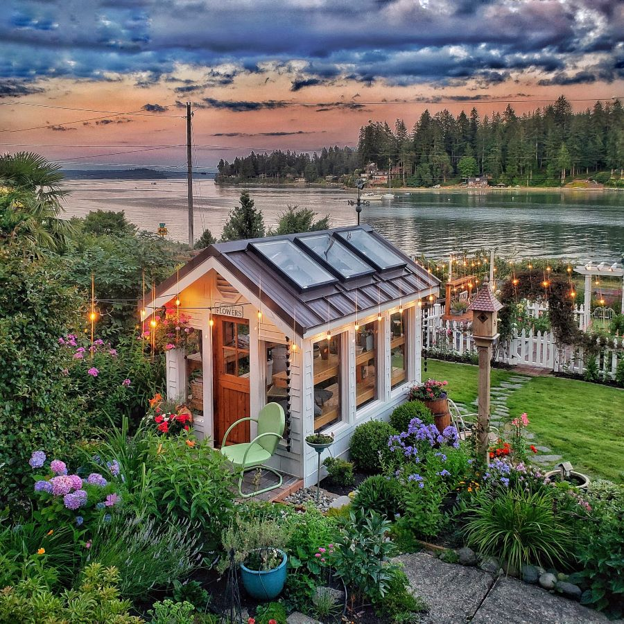 Greenhouse overlooking the Puget Sound at sunset.