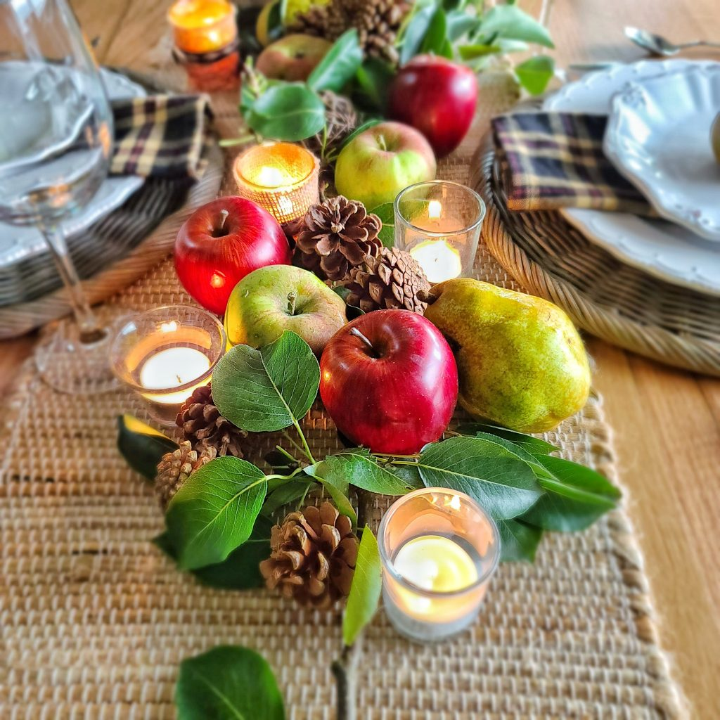 pears and apples centerpiece