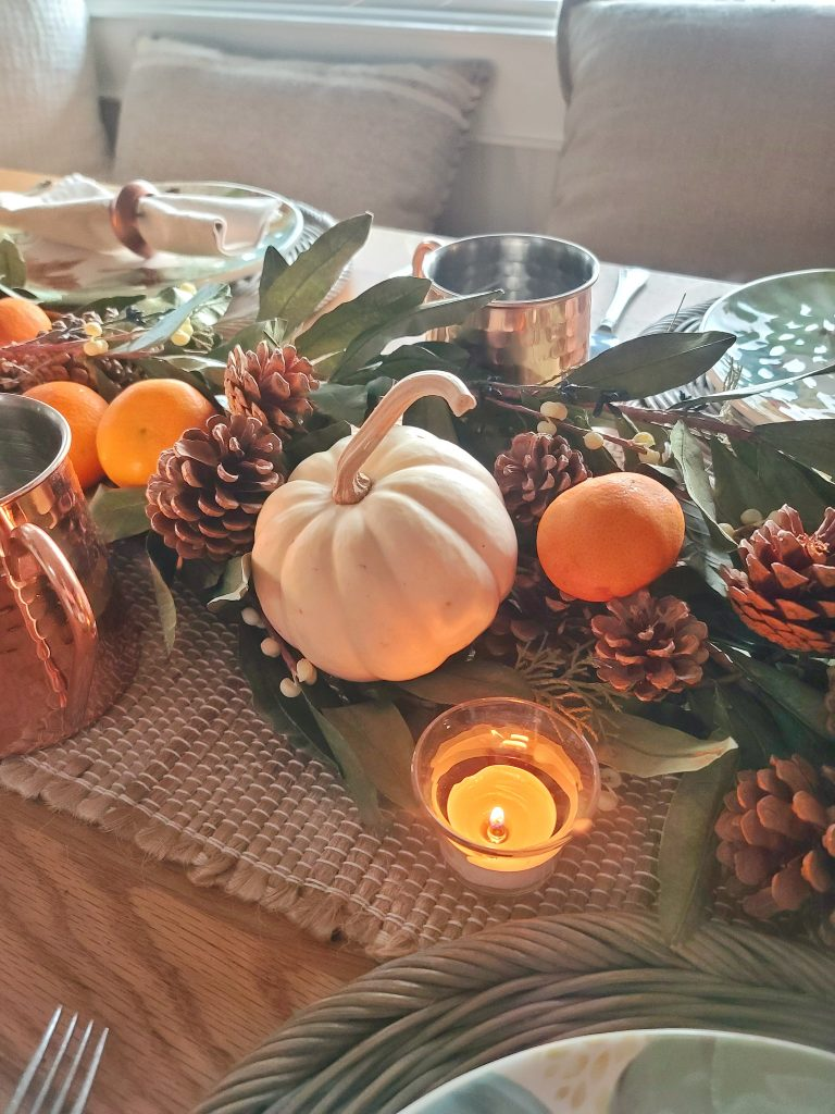 pumpkins and oranges on table