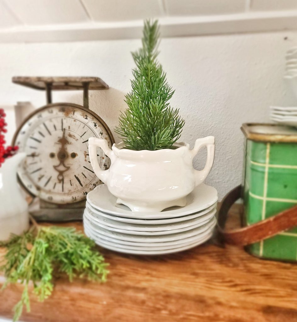 Ironstone dishes with mini Christmas tree