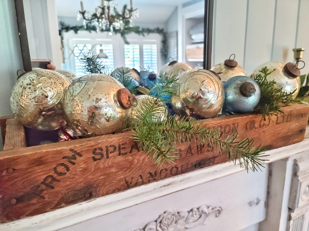 Ornaments in a wooden crate