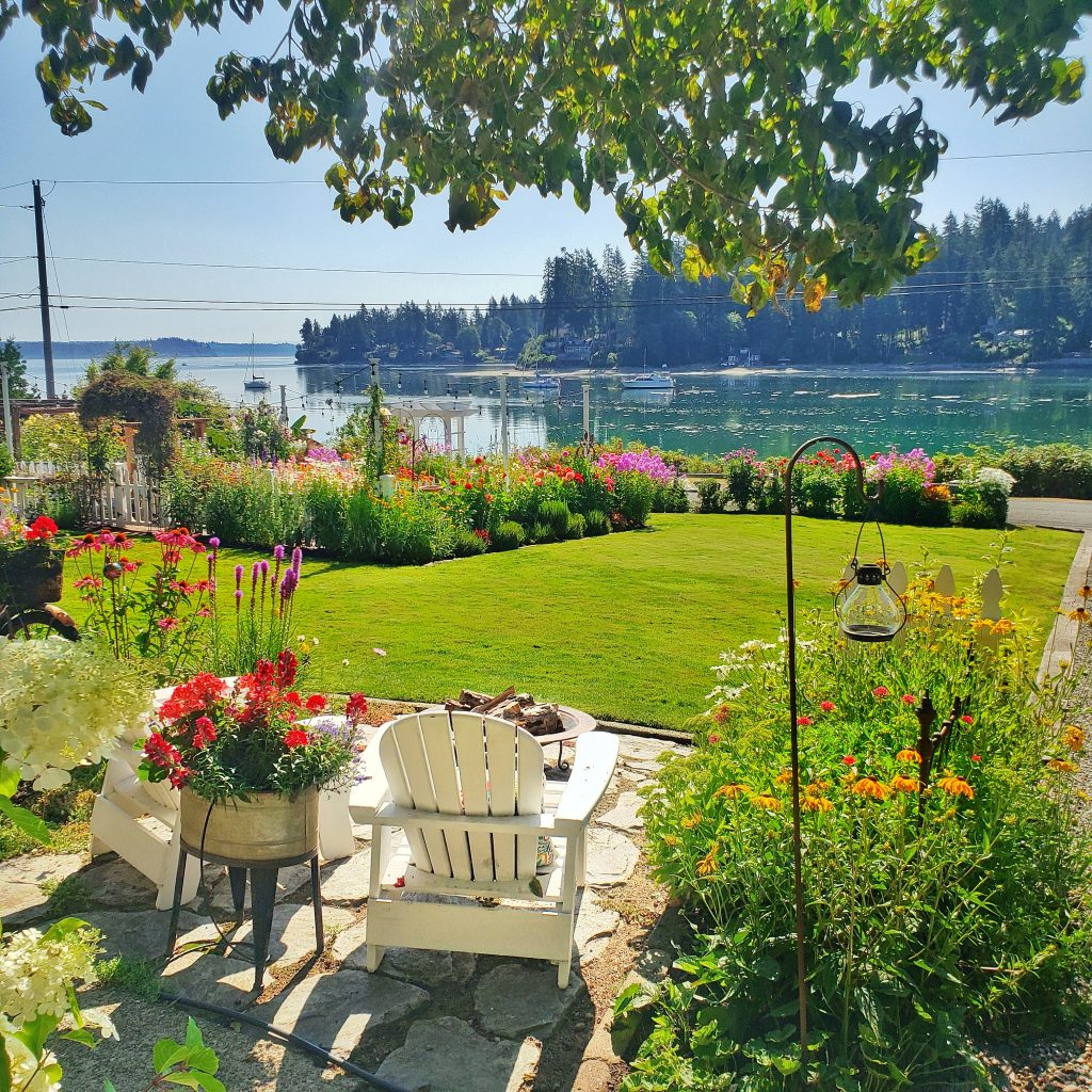 cottage style garden overlooking the Puget Sound