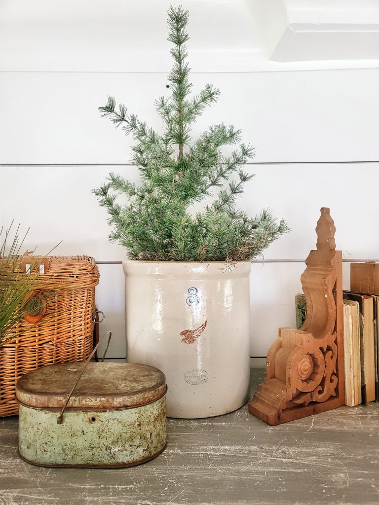 Vintage winter decor with Christmas tree
