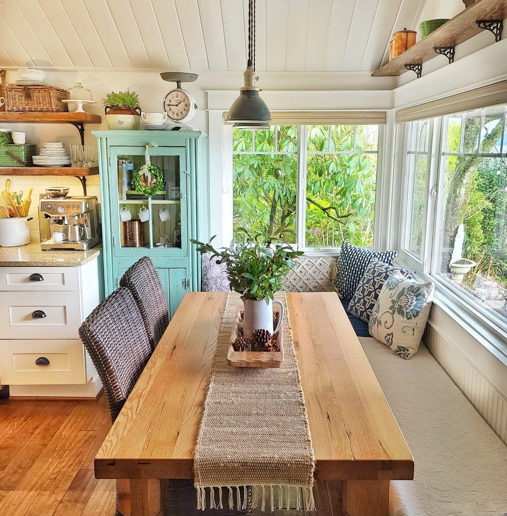 Kitchen eating area with winter decor